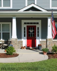 Carolina new construction turned homey and personal. Love the red door. Great diy projects too!