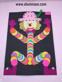 This Pin was discovered by Ama Kids Crafts, Clown Crafts, Carnival Crafts, Cute Crafts, Preschool Crafts, Projects For Kids, Halloween Crafts, Diy For Kids, Diy And Crafts