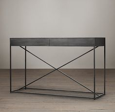 RH's Gramercy Mirrored Console Table:The marriage of cast metal frames and antiqued mirror tabletops gives these simple, structural forms their vintage industrial appeal. Furniture Vanity, Table Furniture, Home Furniture, Furniture Design, Steel Furniture, Glass Furniture, Furniture Shopping, Furniture Stores, Furniture Plans