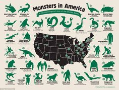 Monsters in America, Any Missing?  #ufo #ufology #ancientaliens #aliens #i #ovnis #extraterrestre #real #space #good #nasa #new #et #area51 #alien #image #instagood #history