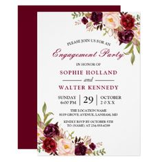 #engagement #party #invitations - #Burgundy Marsala Red Floral Chic Engagement Party Card