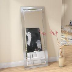 Wade Logan Industrial Beveled Full Length Mirror Size: H x W Body Mirror, Mirror Mirror, Metal Floor, Vanity Set With Mirror, Modern Style Homes, Single Bathroom Vanity, Beveled Glass, My New Room, Modern Contemporary