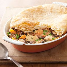 This savory chicken and mushroom pie is a delicious, low-calorie dinner. #protein #vegetables #myplate