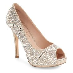 elissa peep toe pump by Lauren Lorraine. A tall stiletto heel and an array of sparkling crystals add scene-stealing glamour to a platform peep-toe pump that's...