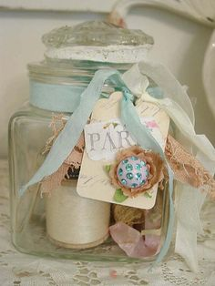 Shabby Glass Jar