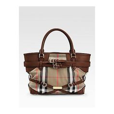 Burberry Medium Check Tote - Dark Tan