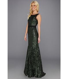 Stunning emerald sequin gown from Badgley Mischka. #shimmer #shine #zappos