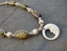Hemp Necklace w/ Crescent Moon Face Pendant - Hemp Jewelry