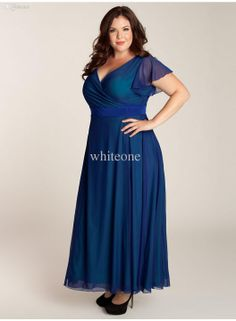 Wholesale Plus Size Special Occasion Dresses - Buy 2013 Simple Blue Chiffon V-Neck Short Sleeve Ankle-length Plus Size Formal Evening Dresse...