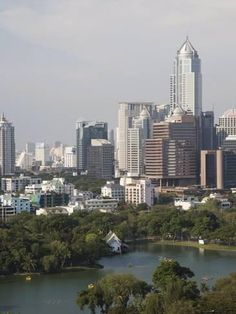 Photographic Print: City Skyline and Lumpini Park, Bangkok, Thailand, Southeast Asia by Angelo Cavalli : 24x18in