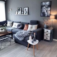 70 Stunning Grey White Black Living Room Decor Ideas And Remodel – Home Design Living Room Grey, Interior Design Living Room, Home And Living, Living Room Designs, Small Living, Interior Livingroom, Kitchen Interior, Modern Living, Home And Deco