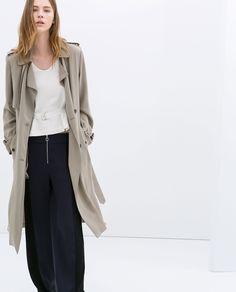 Zara Long Aline Trench Coat in Gray (Taupe grey)   Lyst