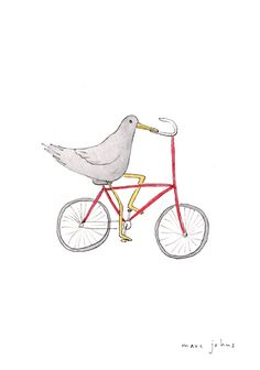 Marc Johns: bird on a bicycle