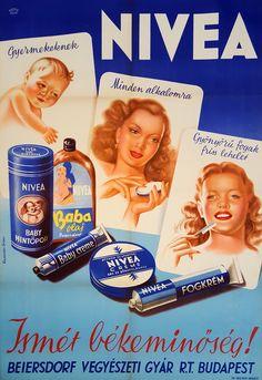 Kolozsváry György: Nivea Vintage Advertising Posters, Vintage Advertisements, Vintage Ads, Vintage Images, Vintage Posters, Vintage Makeup, Vintage Beauty, Cosmetics And Toiletries, Old Commercials