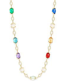 Charter Club Gold-Tone Multicolor Stone Long Strand Necklace, Only at Macy's