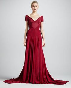 Zac Posen Off-the-Shoulder Sweetheart-Neck Gown, Tuscan Red