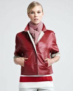 Loro Piana Two-Tone Leather Jacket     $4,595.00