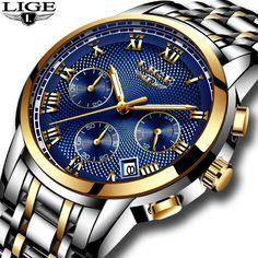 a0c192b21e8 Nova LIGE Relógios Homens Marca De Luxo Cronógrafo Homens Esportes Relógios  À Prova D  Água Relógio Dos Homens de Aço Completo relógio de Quartzo  Relogio ...