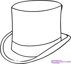 top hat coloring page - hat template top hats and templates on pinterest