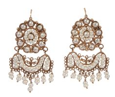 Cultured Pearl Pendant Earrings Mounted In Gold - Italy c. 19th Century