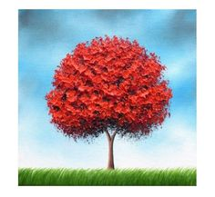 Modern Tree Art, Tree Wall Art, Colorful Landscape, Red Wall Decor, Giclee Print of Tree, Trees in Art, Canvas Art Print, Whimsical Art by BingArt on Etsy