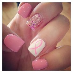 Breast Cancer Awareness Month 50 Nails To Support The Cause ❤ liked on Polyvore featuring beauty products, nail care and nails