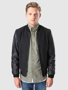 Bomber Jacket Wool Leather Black 7341