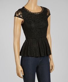 Another great find on #zulily! Black Floral Lace Cap-Sleeve Top by Love Point #zulilyfinds