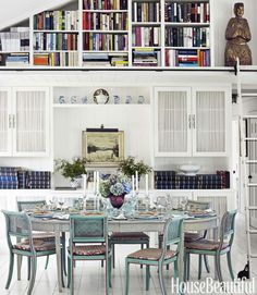 """In the dining area, an antique Swedish table seats eight. """"In England, you talk to the person on the left and then the right, and you gossip. At the end of dinner I often wondered, 'What was that all about?' Here, with only eight, you can have one conversation."""" Lifting the ceiling meant more room for bookshelves and her collection of scrapbooks.   - HouseBeautiful.com"""