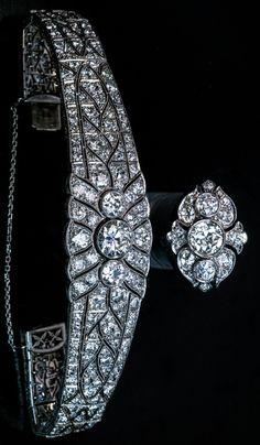 Magnificent Vintage Art Deco Diamond Platinum Bracelet and Ring  1920s  Each piece centered with three bezel-set diamonds: