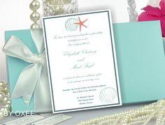Printable Wedding invitation template Tiffany blue, sea, beach wedding pattern by Oxee, DIY, Editable in Word