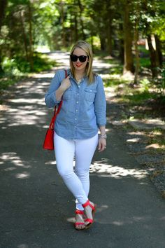 Patriotic outfit ideas with chambray and red accessories.