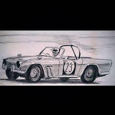 鉛筆で描いてみました #TriumphTR4#トライアンフTR4#TriumphRoadstar4#鉛筆#イギリス#クルマ好き #クルマ