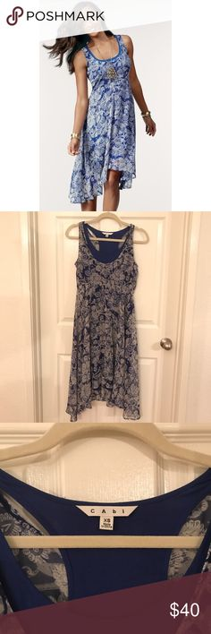 """Cabo """"Willow Double Dress"""" Sz XS Blue White Great dress from CAbi.  Called the """"Willow Double Dress"""" in the catalog.  Size Extra Small.  Blue and white.  Sheer floral overdress and A separate slip dress underneath.  Sewn together with a single line of crochet string so you could separate them if you wanted.  Please let me know if you have any questions!                                                          (B9) CAbi Dresses Midi"""