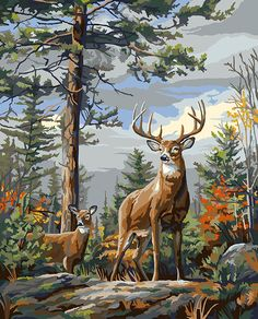 Plaid Creates Paint by Number Kit, 16 by Standing Proud Deer Painting, Vintage Painting, Wildlife Paintings, Art Painting, Paint By Number Vintage, Paint By Number, Oil Painting On Canvas, Painting, Oil Painting