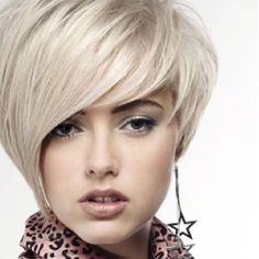 short platinum hair asymmetrical