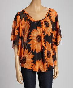 This Orange & Black Sunflower Cape-Sleeve Top - Women & Plus by Come N See is perfect! #zulilyfinds