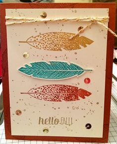 Four Feathers Stampin' Up!  Inspired from card shown on SU Blog