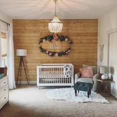 "353 Likes, 8 Comments - Project Nursery (@projectnursery) on Instagram: ""Totally digging the lighter, natural wood wall in this sweet, yet rustic nursery. What do you…"""