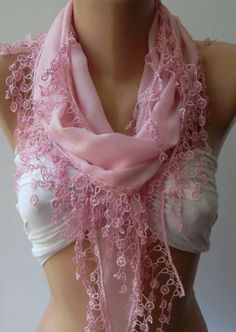 Pink   Elegance Shawl / Scarf with Lace Edge by womann on Etsy