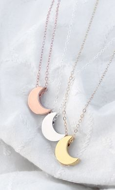 Silver Crescent Moon Necklace Tiny Moon Necklace