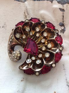 Eisenberg Sterling Deco Red And Crystal Rhinestone Brooch. Original Signed…