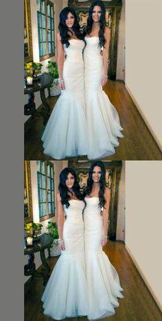 Outlet Vogue Mermaid Bridesmaid Dress Elegant White Tulle Mermaid Long Bridesmaid Dresses For Wedding Party, Cheap Simple Long Wedding Dresses Inexpensive Bridesmaid Dresses, Mermaid Bridesmaid Dresses, Cheap Party Dresses, Affordable Prom Dresses, Long Wedding Dresses, Mermaid Dresses, Dress Party, Tulle Wedding, Dress Wedding
