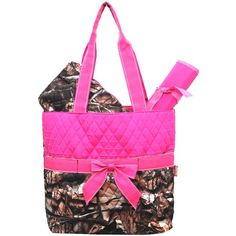 New Design Camo Quilted 3pcs Diaper Bag-Hot Pink Zebragogo