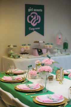 Dining table detail from a Glam Girl Scout Mother Daughter Luncheon via Kara's Party Ideas | KarasPartyIdeas.com (28)