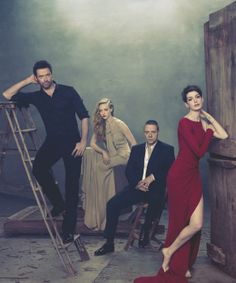 Hugh Jackman, Amanda Seyfried, Russell Crowe & Anne Hathaway.  The primary cast of Les Miserables.