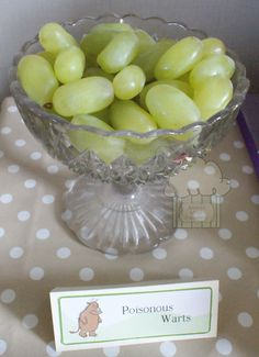 Gruffalo party food - poisonous warts - grapes