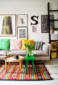 Southwest inspired rug. Bright pops of color.