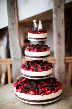 Pick your favorite wedding cake flavors. Strawberry cheese wedding cake with chunks of chocolate.