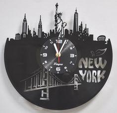 NEW YORK vinyl record clock of recycle vinyl records New York gift record wall art New York city vinyl clock New York decor, record wall art Record Wall Art, Vinyl Record Clock, Vinyl Records, New York Decor, Wall Clock Design, Clock Wall, Unique Wall Clocks, New Art, Wood Crafts